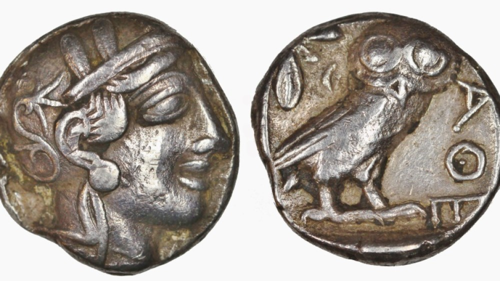 Ancient Greek Silver Owl Tetradrachm Coin from Athens – 454 BC