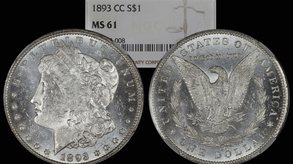 1893 CC Morgan Silver Dollar NGC MS61